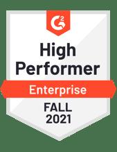 G2 High Performer Enterprise Fall 2021 Badge